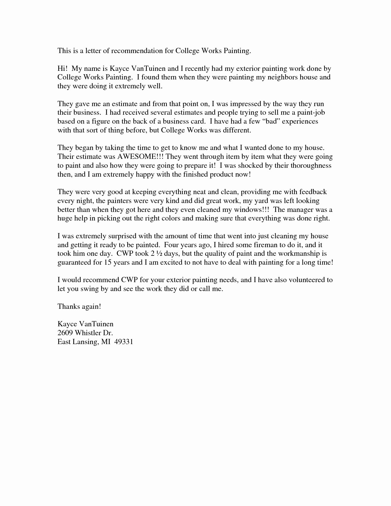 College Letter Of Recommendation Template New Letter Re Mendation for College Admission Template