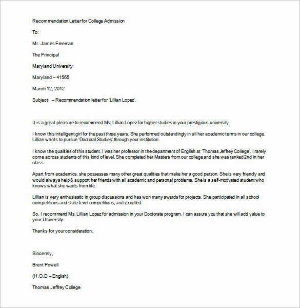 College Letter Of Recommendation Template Unique 12 College Re Mendation Letters Doc Pdf