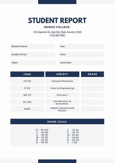 College Report Card Template Best Of Customize 134 College Report Card Templates Online Canva