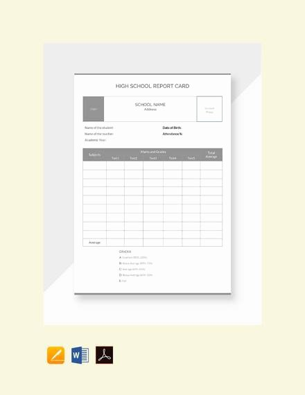 College Report Card Template Best Of Free 14 Sample Report Cards In Pdf Word Excel