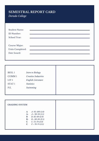 College Report Card Template Elegant Customize 9 023 Report Card Templates Online Canva