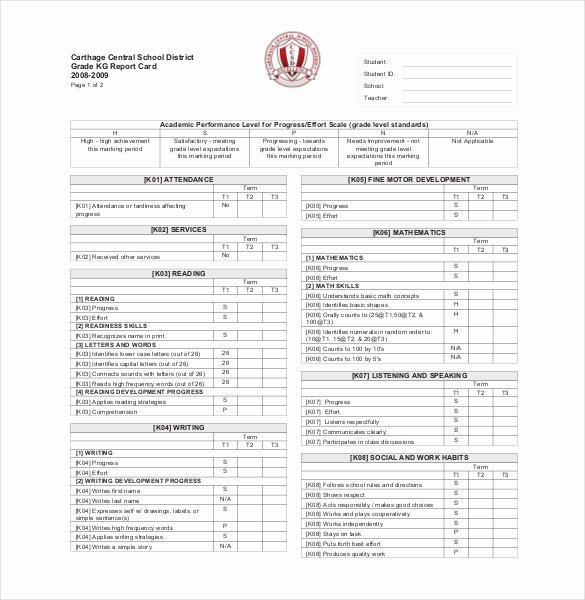 College Report Card Template New School Report Template 24 Free Sample Example format