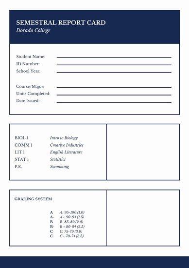 College Report Card Template Unique Customize 9 023 Report Card Templates Online Canva