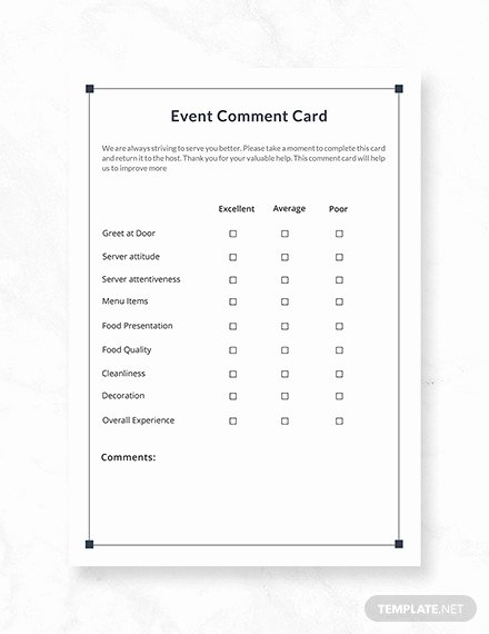 Comment Card Template Word Awesome 19 Ment Card Templates Psd Ai Eps