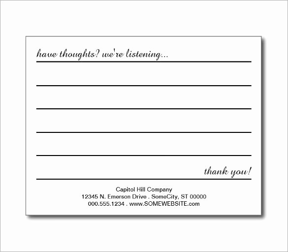 Comment Card Template Word Elegant Suggestion Card Template