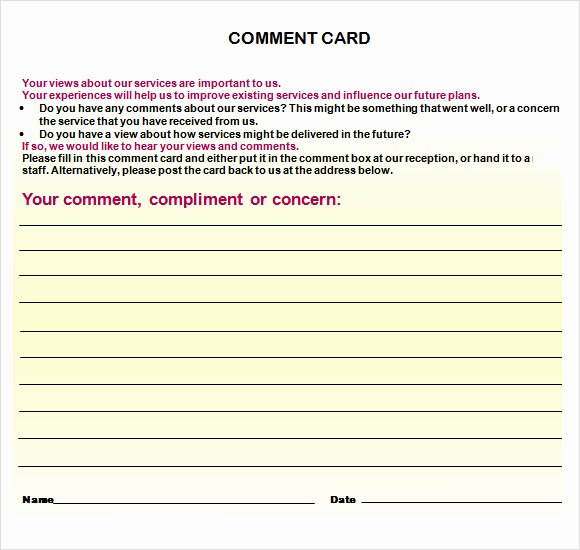 Comment Card Template Word Fresh Free 10 Ment Cards In Illustrator Ms Word