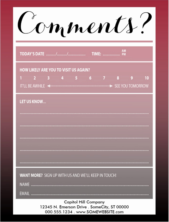 Comment Card Template Word Inspirational 10 Restaurant Guest Ment Card Designs & Templates