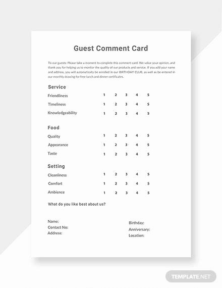 Comment Card Template Word Inspirational Free 10 Ment Cards In Illustrator Ms Word