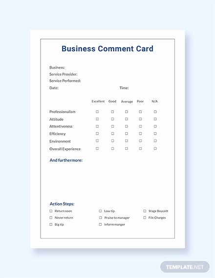 Comment Card Template Word Lovely 19 Ment Card Templates Psd Ai Eps