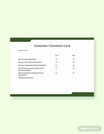 Comment Card Template Word New Free Hotel Ment Card Template Download 217 Cards In