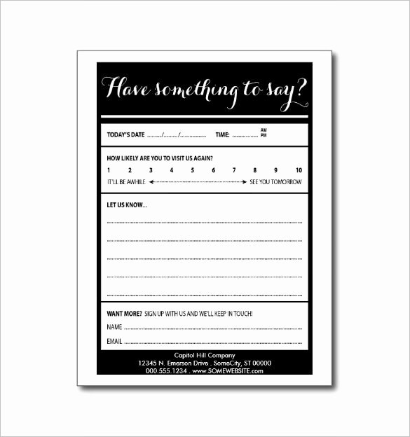 Comment Card Template Word New Suggestion Card Template