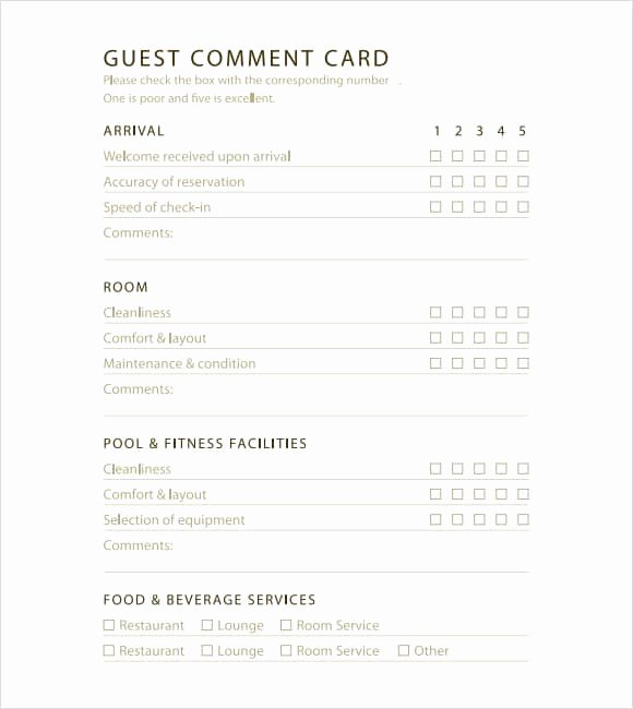 Comment Card Template Word Unique 5 Restaurant Ment Card Templates Excel Xlts