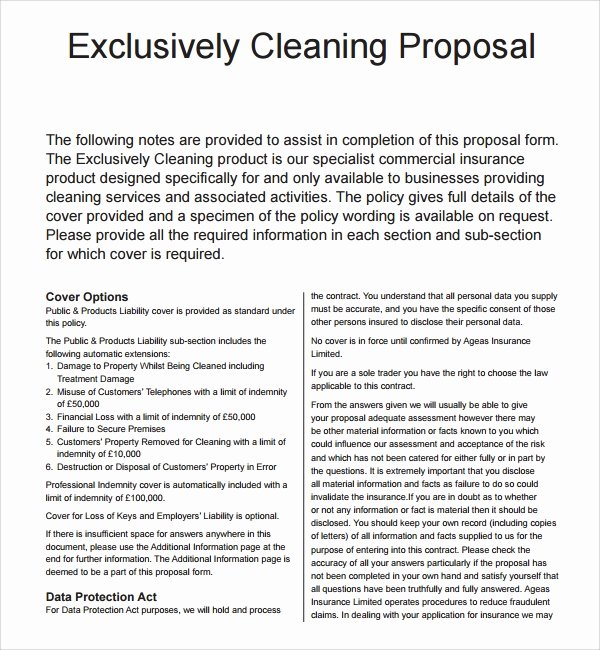 Commercial Cleaning Proposal Template Free Inspirational 16 Cleaning Proposal Templates Pdf Word