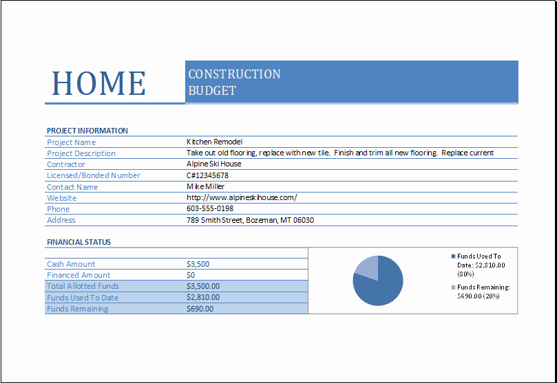 Commercial Construction Budget Template Awesome Home Construction Bud Worksheet for Excel
