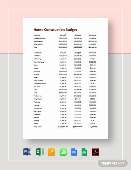 Commercial Construction Budget Template Beautiful Free 12 Construction Bud Samples In Google Docs