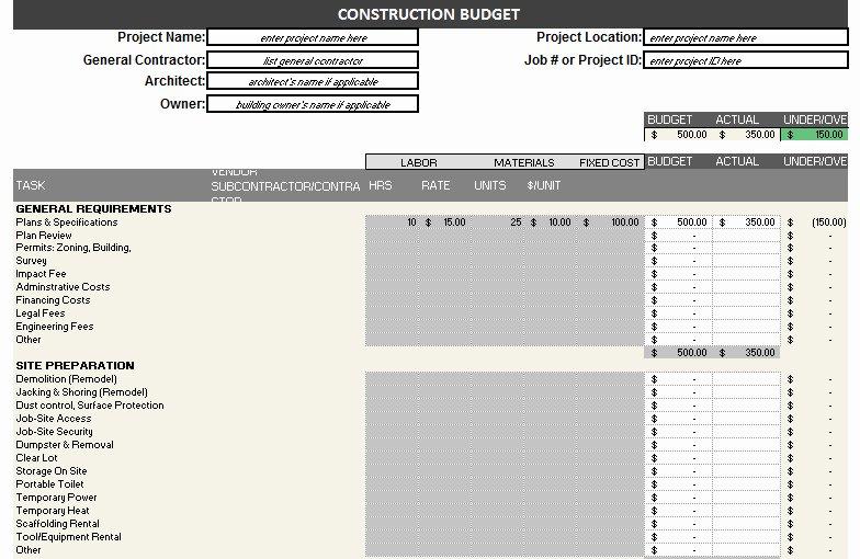 Commercial Construction Budget Template Unique Construction Bud Template – Free Detailed Bud