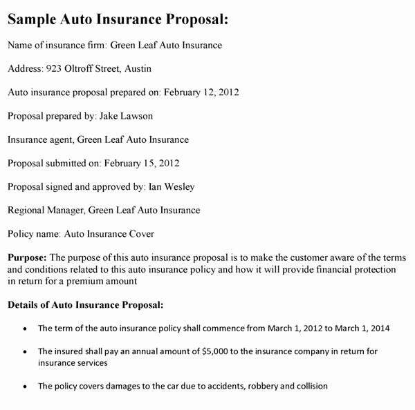 Commercial Insurance Proposal Template Beautiful Auto Insurance Proposal Template