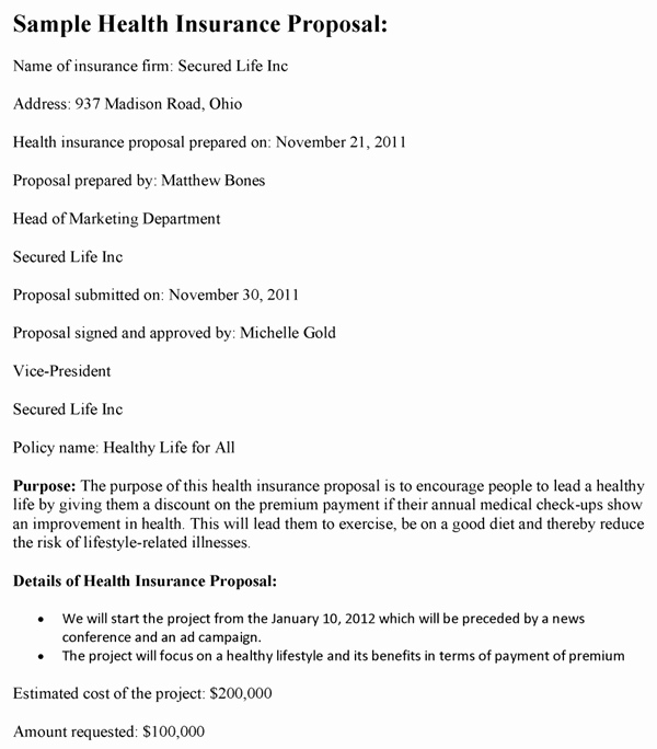 Commercial Insurance Proposal Template Elegant Health Insurance Proposal Template