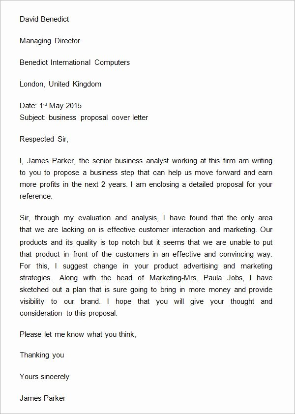 Commercial Insurance Proposal Template Luxury Sample Business Proposal Cover Letter