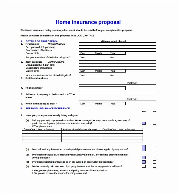 Commercial Insurance Proposal Template New Sample Insurance Proposal Template 13 Free Documents In