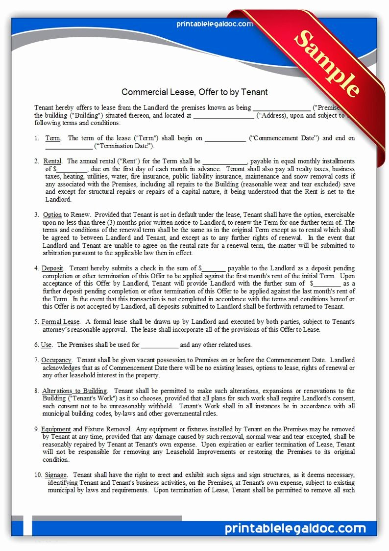 Commercial Lease Proposal Template Awesome Free Printable Mercial Lease Fer to by Tenant