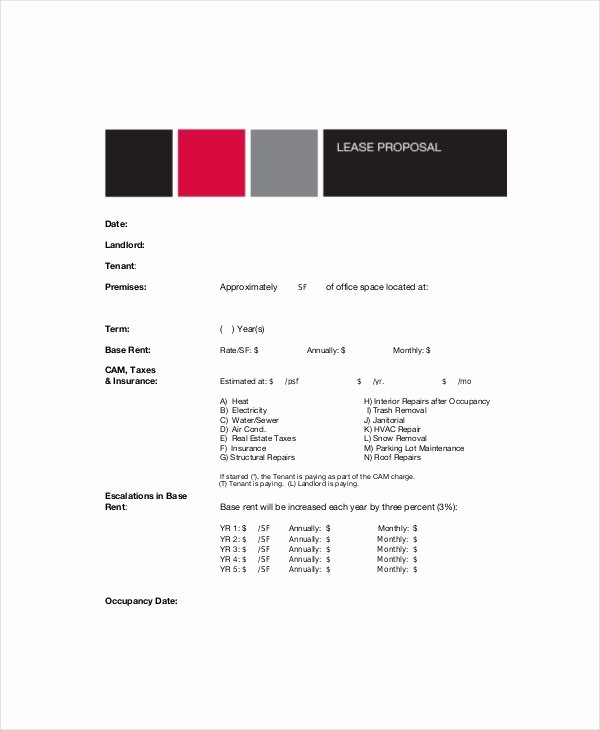Commercial Lease Proposal Template Elegant 12 Lease Proposal Templates Free Sample Example