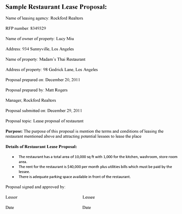 Commercial Lease Proposal Template Fresh Restaurant Lease Proposal Template