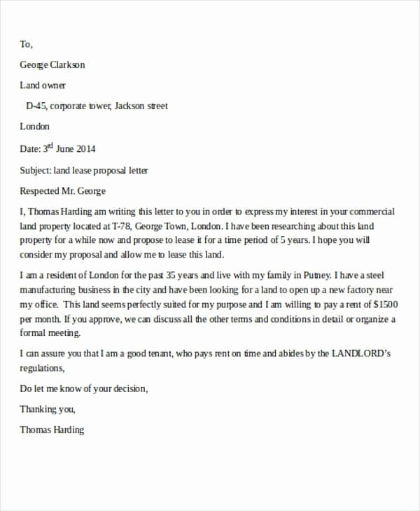 Commercial Lease Proposal Template Inspirational Proposal Letter Lease Mercial Space Flowersheet