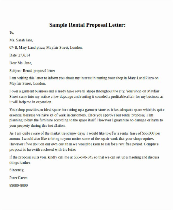 Commercial Lease Proposal Template Luxury 32 Business Proposal Letter In Word