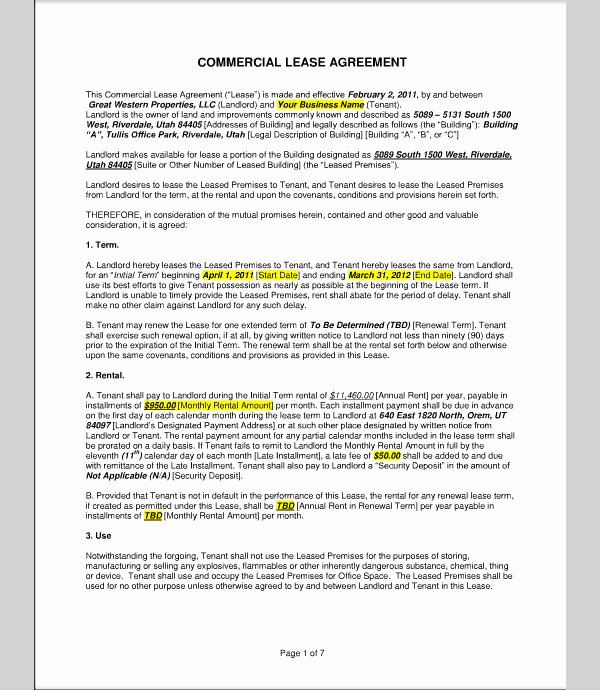 Commercial Lease Proposal Template Luxury Mercial Lease Proposal form Sample forms