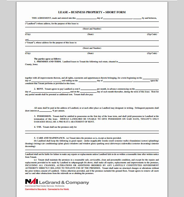 Commercial Lease Proposal Template New Business Lease Proposal form Sample forms