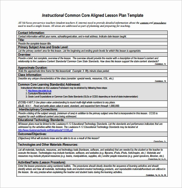 Common Core Lesson Plan Template Beautiful Mon Core Lesson Plan Template 8 Free Word Excel
