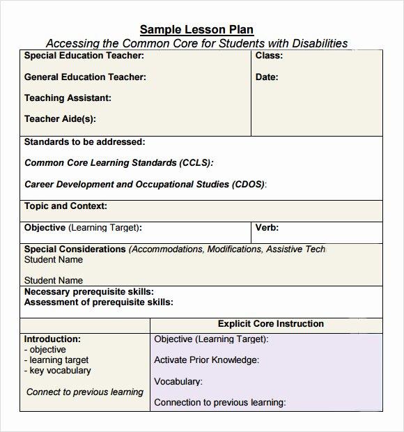 Common Core Lesson Plan Template Elegant Free 7 Sample Mon Core Lesson Plan Templates In Google