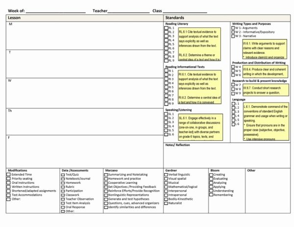 Common Core Lesson Plan Template Elegant Mon Core Weekly Lesson Plan Template Includes