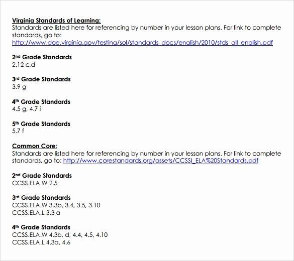 Common Core Lesson Plan Template Elegant Sammple Mon Core Lesson Plan – 9 Example format