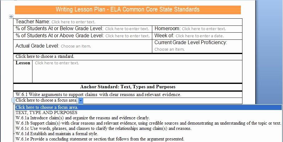 Common Core Lesson Plan Template Inspirational Mon Core Lesson Plan Activities Mon Core Progress