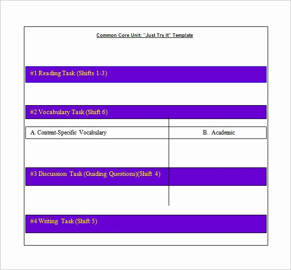 Common Core Lesson Plan Template Lovely Mon Core Lesson Plan Template 8 Free Word Excel