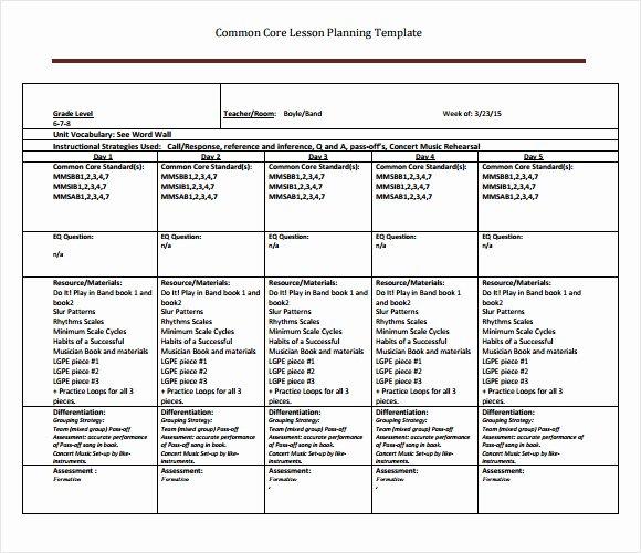 Common Core Lesson Plan Template Luxury Best S Of Core Curriculum Lesson Plan Template