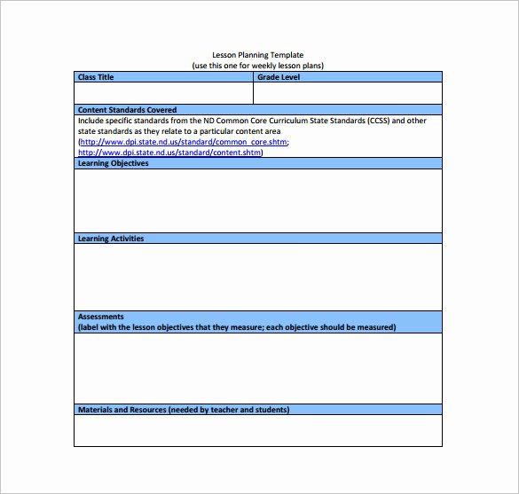 Common Core Lesson Plan Template Unique Mon Core Lesson Plan Template 8 Free Word Excel