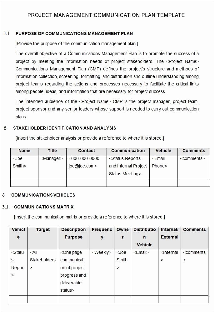 Communications Plan Template Word Awesome Project Management Munication Plan Template 5 Free
