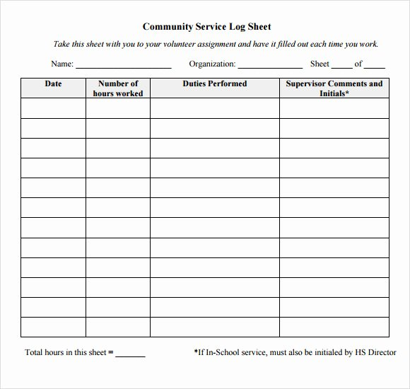 Community Service form Template Fresh Log Sheet Template 9 Free Samples Examples format