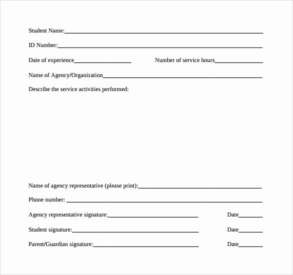 Community Service form Template Inspirational Sample Service Hour form 13 Download Free Documents In