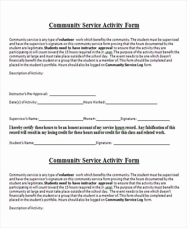 Community Service form Template Inspirational Service form In Word