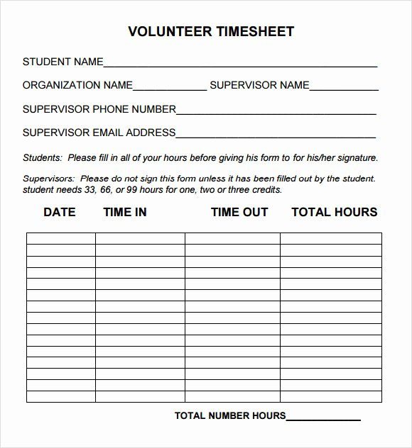 Community Service form Template Lovely Free 10 Volunteer Timesheet Samples In Google Docs