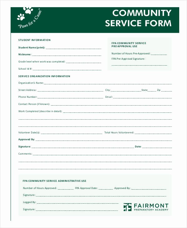 Community Service form Template Lovely Free 35 Service form In Templates