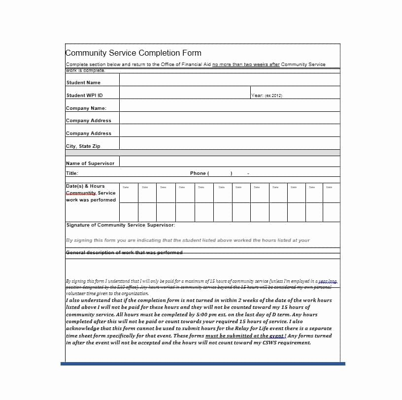 Community Service form Template Luxury Generic Munity Service form