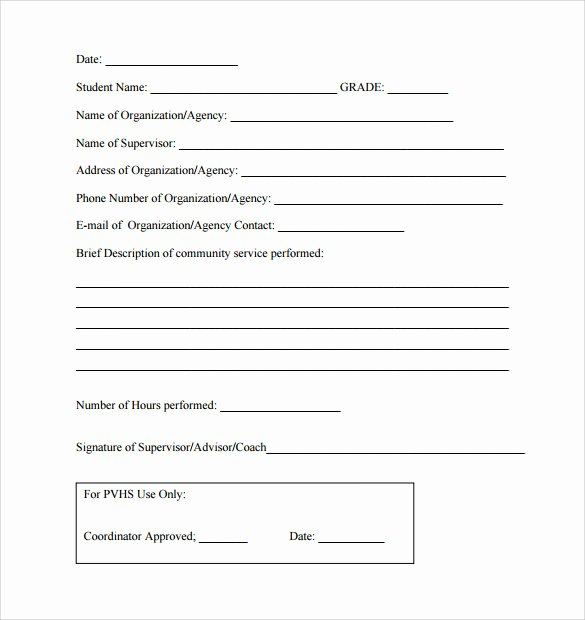 Community Service form Template New Sample Service Hour form 13 Download Free Documents In