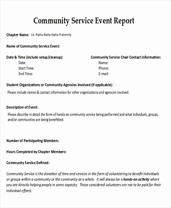 Community Service form Template Pdf Best Of 16 Sample Service Reports Free Pdf Docs Word Apple