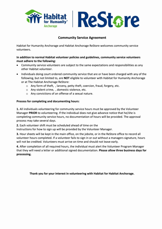 Community Service form Template Pdf Best Of Munity Service Agreement form Printable Pdf