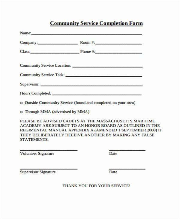 Community Service form Template Pdf Inspirational 21 Service form formats Pdf Doc